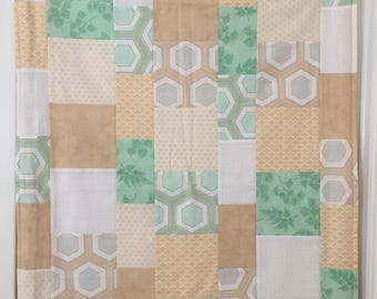 Yellow, green + white handmade quilted dog blanket; for every one purchased, one will be donated to a rescue dog!