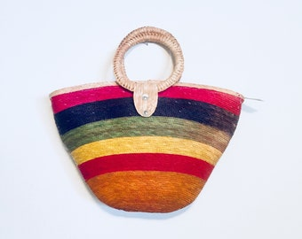 80s Rainbow Straw Handbag Purse Hand Made Wicker Unused NWT