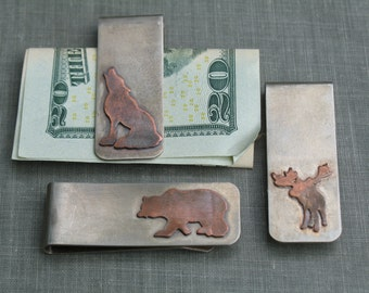 Animal Silhouette Money Clip- personalized groomsmen gifts, bear, wolf, cow skull, dragon, bison, moose, gift for him, rustic money clip