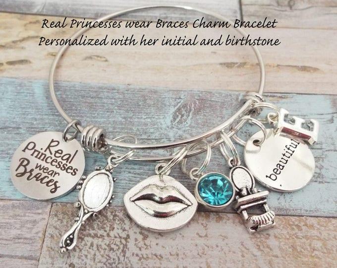 Girl's Bracelet, Gift for Girl, Real Princesses Wear Braces, Daughter Gift, Granddaughter Gift, Custom Jewelry, Personalized Gift, Gift Her