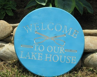 Welcome to our Lake House -  Routed Wood Disk 3D Wall Decor - Color Options DSK10