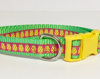 "Dog Collar - Pineapple - 3/4"" wide - Summer - Spring - Handmade - Dog Gift- Pet - Dog Collar"