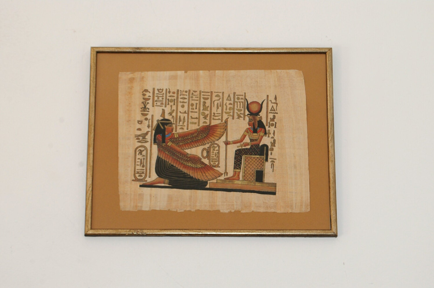 Hathor Maat Large Framed Papyrus Art Egyptian Papyrus Wall
