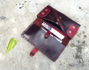 leather phone wallet plum aubergine, pouch, brown, mobile case, leather bag, handmade, phone pouch, gadget wallet