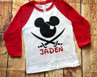 Pirate Mickey Shirt, Disney Raglan, Family Disney Shirts, Disney Family Shirts, Boys Disney Shirt, Disney Cruise, Pirate Mickey, Boys Disney