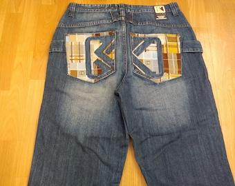 KARL KANI jeans, vintage baggy Kani jeans loose blue 90s hip-hop clothing, oldschool 1990s hip hop, OG, gangsta rap, size W 34