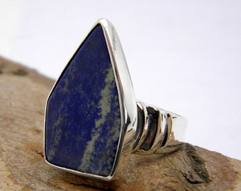 Big blue stone Sterling silver sodalite gemstone Statement ring size 8
