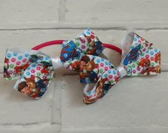 Girls Paw Patrol Hair Bobble Bows Elastic x 2 Christmas Eve box gift stocking filler