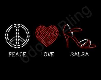 "Rhinestone Iron On Transfer ""Peace Love Salsa"" Crystal Bling Design Dancing - Make Your Own Shirt! DIY"