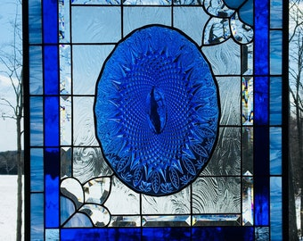 stained glass panel Large Blue Feathers  25 x 21