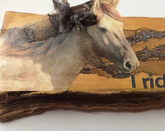 Mixed media art work. Huon pine canvas collage. Equine love. Horses.