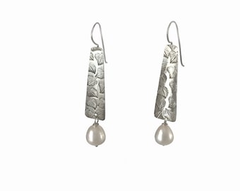 Pearl- Sterling Silver Leaf Earrings