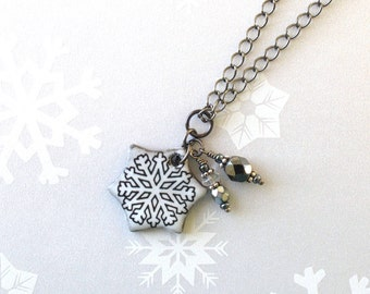 SALE! Snowflake Necklace. Black Porcelain. Glass Beads. Winter Sports. Snow White. Snow. Ceramic. Silver. Skate. Snowboard. Ski. Gunmetal