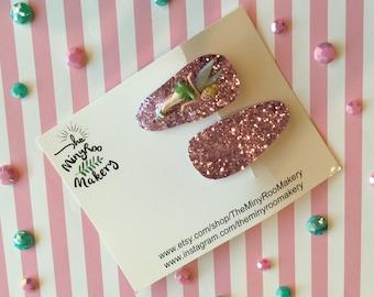 Tinkerbell Glitter Hair Clip Set