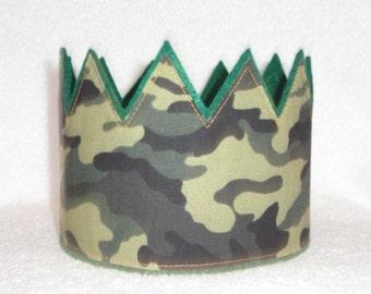 Camo Birthday Crown, Green Camo Birthday Crown, Birthday Crown, Adult Crown, Kids Birthday Crown, Birthday Crown, Birthday Hat, Kids Crown,