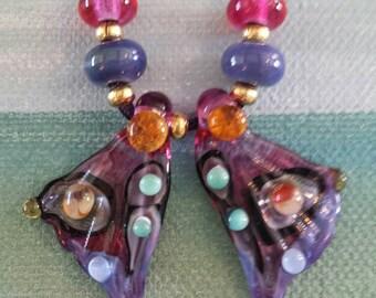 Angel Wings Lampwork Earring Bead Pair by Helen's Harvest