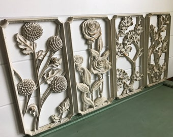 Mid Century Modern Wall Decor . Grouping . Set of Four Floral Wall Plaques . 50s Wall Art . White/Gold Accent . Syroco . Syracuse, NY .