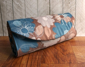 Clearance. Brown and teal clutch bag with flowers, floral clutch purse, fall fashion