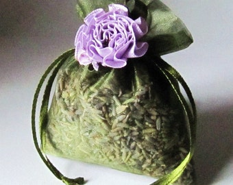 Organic Lavender Sachets 6 Pack moss green 3x4 with lavender ribbon flower freshly made for you