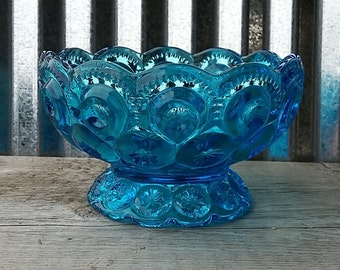 LE Smith Moon and Star Blue Compote-Moon and Star Candy Dish-Blue Depression Glass-Midcentury Glass-Vintage Compote-Vintage Candy Dish