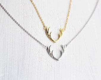 Free Gift Wrapping, Antler necklace, Deer Necklace, Animal necklace, Simple, Bridesmaid necklace, Gift, Lucky charm, Bridesmaid gift