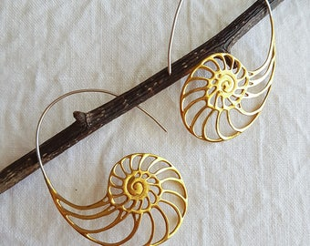 Silver and brass shell shaped earrings