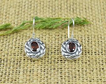 Braided Garnet Dangle Earrings // Garnet Jewelry // Dangle Earrings // Sterling Silver // Village Silversmith