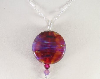 Pink, Purple, Blue Glass Lampwork Focal Bead Pendant - SRAJD