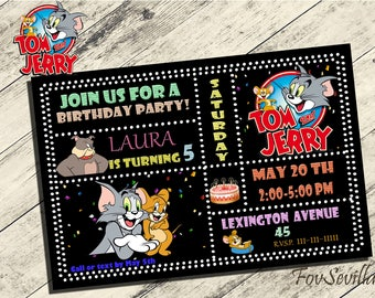 tom and jerry invitation,tom and jerry birthday invitation,tom and jerry birthday party,invitation tom and jerry,birthday tom and jerry