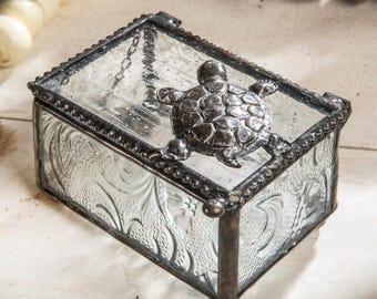 Turtle Glass Keepsake Box Gift for Gardener Nature Inspired Jewelry Box Botanical Embossed Glass  Box 331