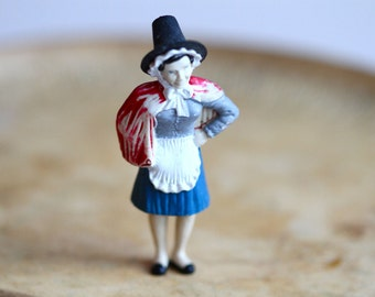 Miniature Angry Welsh Lady Figurine - Cake Topper Jewelry assemblage