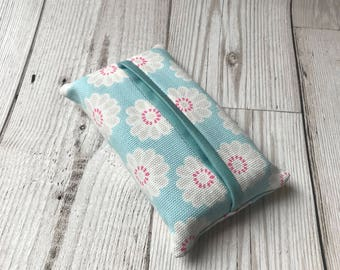 Tissue holder, blue, floral, Handbag Accessory