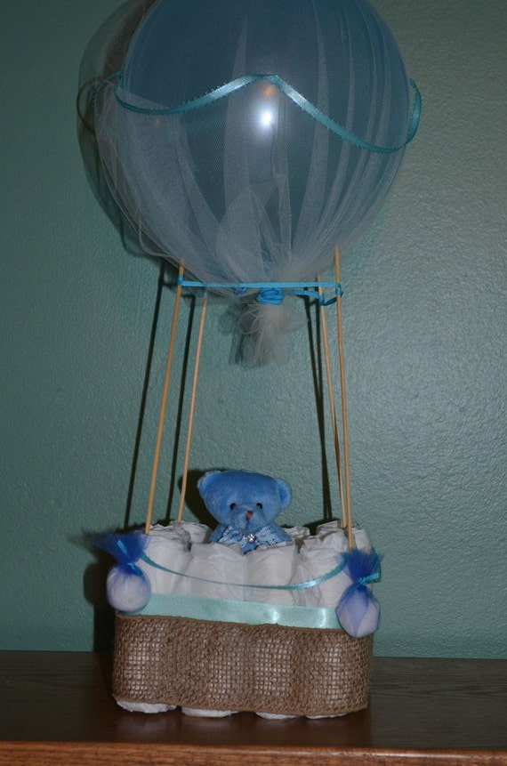 Hot air balloon diaper cake centerpiece sip and see baby
