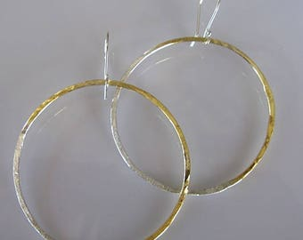 24K Gold and Silver Hoop 3 inch Hoops Sterling Silver Hammered Hoop Earrings Large Hoop Earring Silver Hoop Earring Boho Earring 3 Inch Hoop