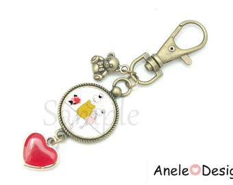 Keychain bag charm MOM, gift for MOM, MOM and daughter, pink flower heart Red