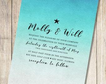 Nautical, Beach, Destination Wedding Invitation - Blue Ombre Starfish - Digital Download