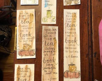 """CS Lewis bookmark """"You can never get a cup of tea large enough or a book long enough to suit me."""" Handpainted hand-lettered watercolor"""