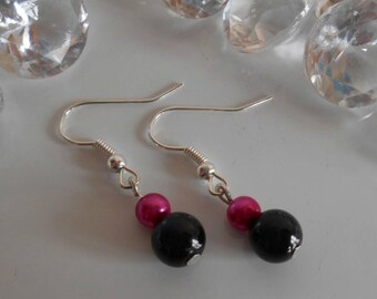 Black and fuchsia simplicity wedding earrings