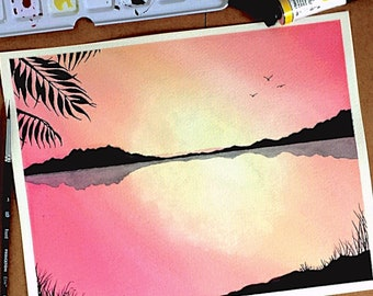 Tropical Sunset - ORIGINAL 8x10 Watercolor Painting