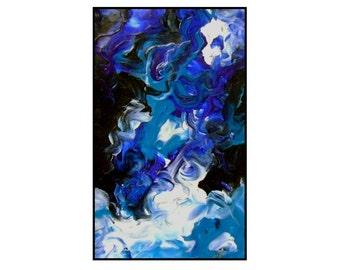 Abstract Blue Painting Sky original modern art acrylic artwork contemporary night skyline moon light home decor