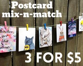 Mix-n-match postcards - set of 3 - postcard bundle - notecard set - discount postcards - funny cards