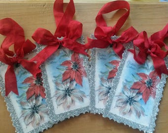 Christmas gift tags paper ornaments poinsettias vintage card scrap glitter ornaments party favor tags silver red home decor hostess gifts