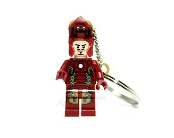 Iron Man Keychain, Mark 43 - made from NEW GENUINE Superhero Iron Man LEGO®  Minifig