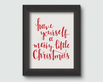 Christmas print, Merry Little Christmas, Christmas Decor, Printable, Christmas Sign, Hand Lettered