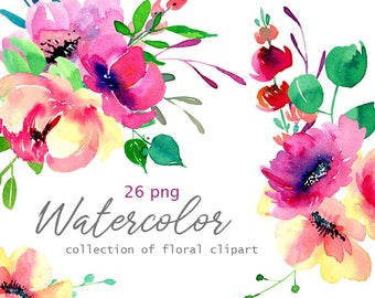 Watercolor Flowers Clip Art Hand Painted Floral PNG Bright Summer Aquarelle Florals Leaves Branches Wedding Clipart Free Commercial Use