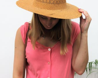 Simple Straw Hat with Wide Brim