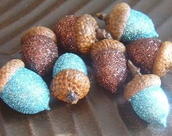 Aqua and Chocolate Glittered Acorns