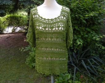 Crochet shirt Tunic Shirt crochet Green, Gr. 40-44