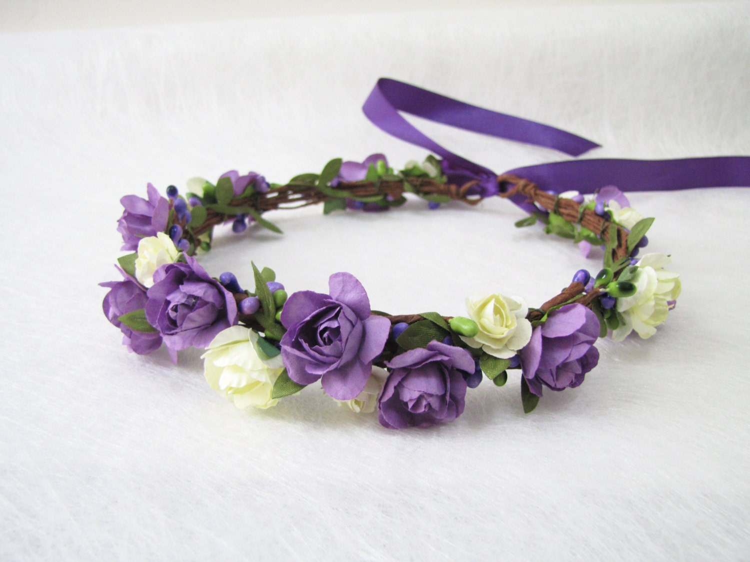 Wedding Floral Crown Ivory Purple Flower Headband Floral