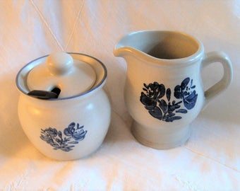 Vintage Pfatzgraff Yorktown Creamer and Sugar Bowl Set Lidded Sugar Bowl Tall Creamer Blue Floral Pattern Yorktown Kitchenware